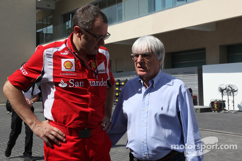 Stefano Domenicali Ferrari General Director with Bernie Ecclestone