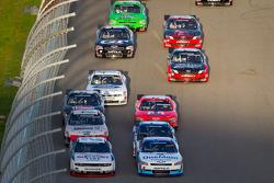 Brad Keselowski, Penske Racing Dodge and Elliott Sadler, Kevin Harvick Inc. Chevrolet lead the field