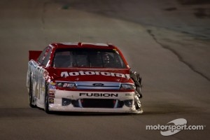 Trevor Bayne, Wood Brothers Racing Ford with damage after a crash