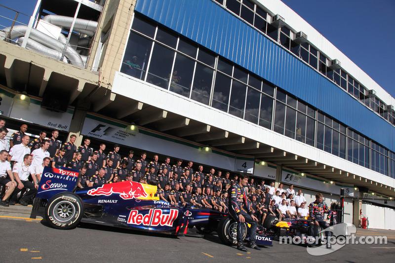 The red bull team with Mark Webber, Red Bull Racing and Sebastian Vettel, Red Bull Racing