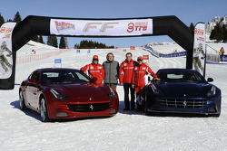 Fernando Alonso, Luca di Montezemolo, Stefano Domenicali and Felipe Massa present the new Ferrari FF
