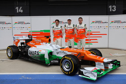 Nico Hülkenberg, Jules Bianchi und Paul di Resta, Sahara Force India F1 Team
