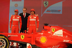 Fernando Alonso, Felipe Massa and Stefano Domenicali