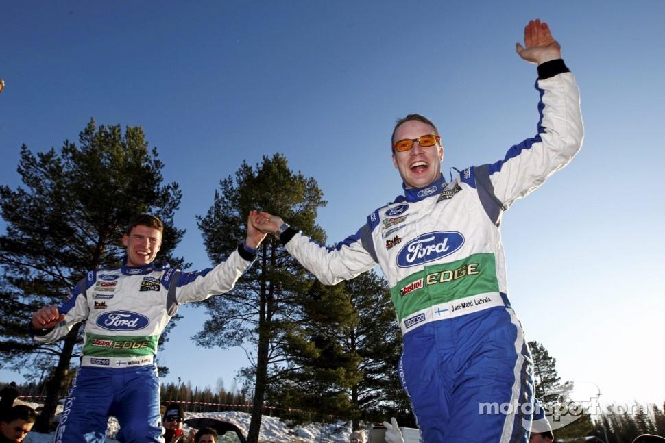 Winners Jari-Matti Latvala and Miikka Anttila, Ford World Rally Team celebrate