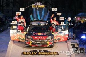 Podium: second place Mikko Hirvonen and Jarmo Lehtinen, Citroën DS3 WRC, Citroën Total World Rally Team
