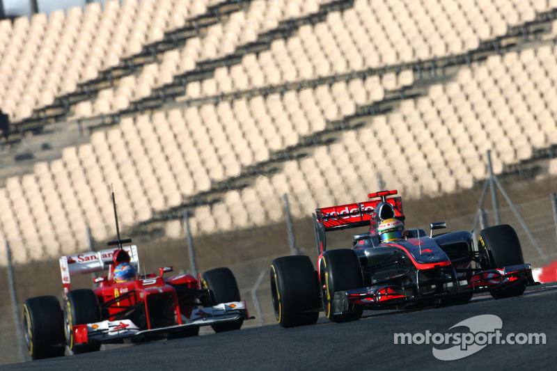 Lewis Hamilton, McLaren Mercedes en Fernando Alonso, Scuderia Ferrari