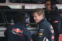 Sebastian Vettel, Red Bull Racing with his old Race engineer  Laurent Mekies, Chief Engineer, Scuderia Toro Rosso