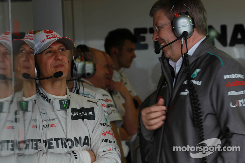 Michael Schumacher, Mercedes GP and Ross Brawn, Team Principal, Mercedes GP Petronas