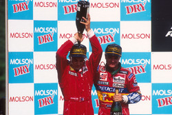 Podium: race winner Jean Alesi, Ferrari, second place Rubens Barrichello, Jordan