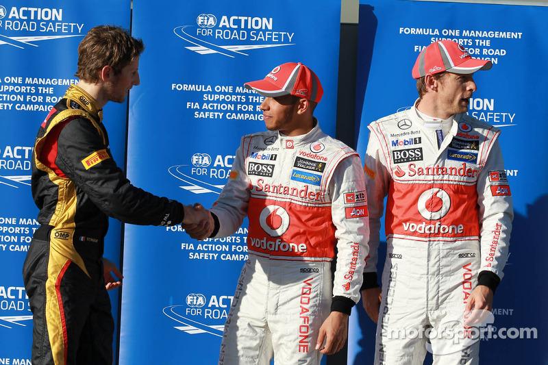 Ganador de la pole position  Lewis Hamilton, McLaren Mercedes, segundo Jenson Button, McLaren Mercedes, tercero Romain Grosjean, Lotus Renault F1 Team