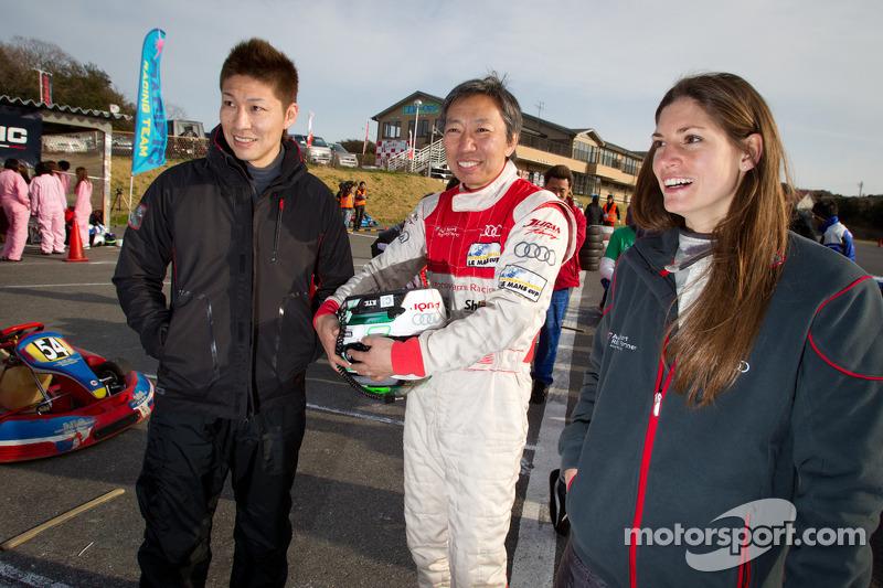 Go-kart evenement voor het goede doel: Akihiro Tsuzuki, Michael Kim en Cyndie Allemann