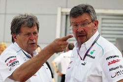 Norbert Haug, Mercedes Sporting Director with Ross Brawn, Mercedes GP Team Principal
