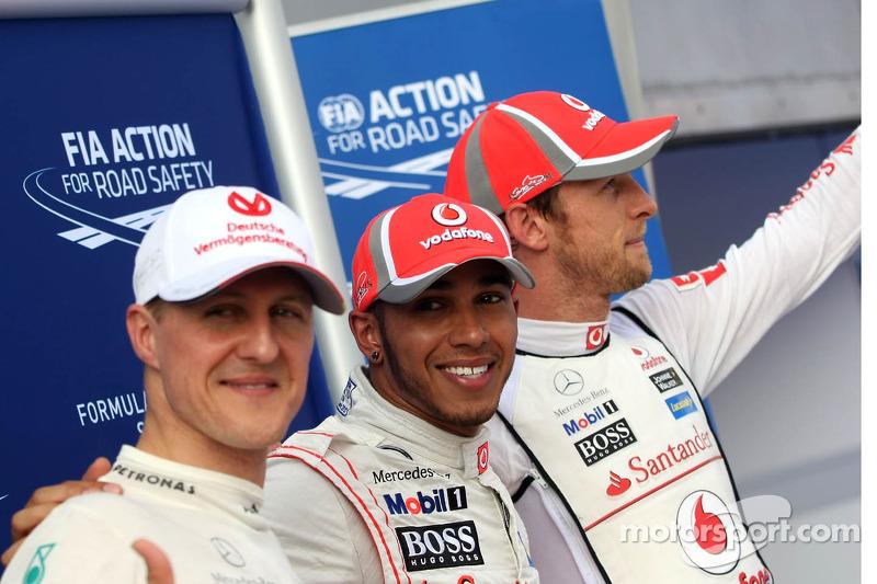 Michael Schumacher, Lewis Hamilton y Jenson Button en Malasia 2012