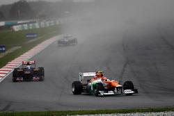 Nico Hulkenberg, Sahara Force India F1 leads Jean-Eric Vergne, Scuderia Toro Rosso