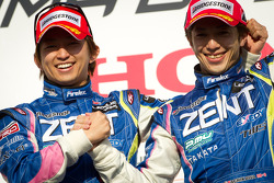 GT500 podium: class and overall winners Kohei Hirate and Yuji Tachikawa