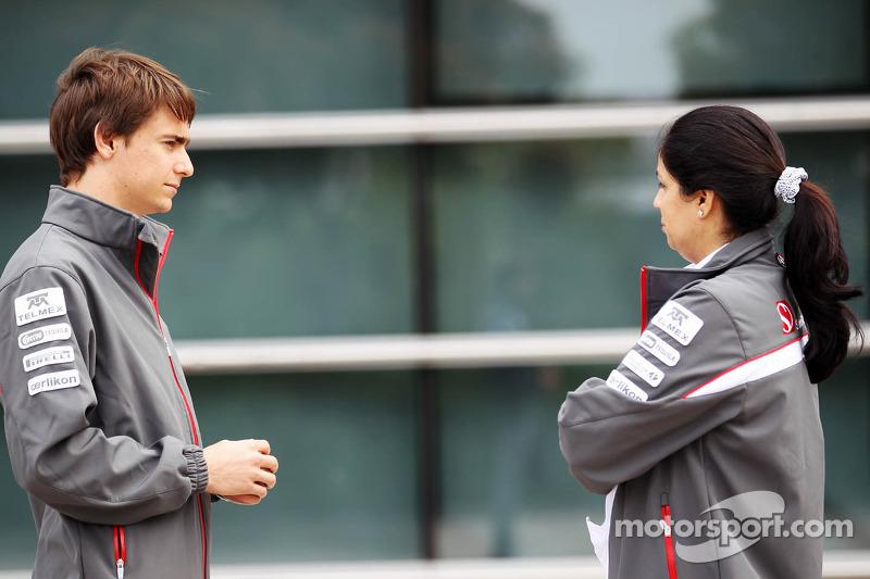 Esteban Gutierrez, Sauber F1 Team Third Driver with Monisha Kaltenborn, Sauber F1 Team Managing Director
