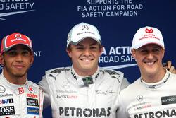 Lewis Hamilton, McLaren Mercedes, Nico Rosberg, Mercedes GP en Michael Schumacher, Mercedes GP
