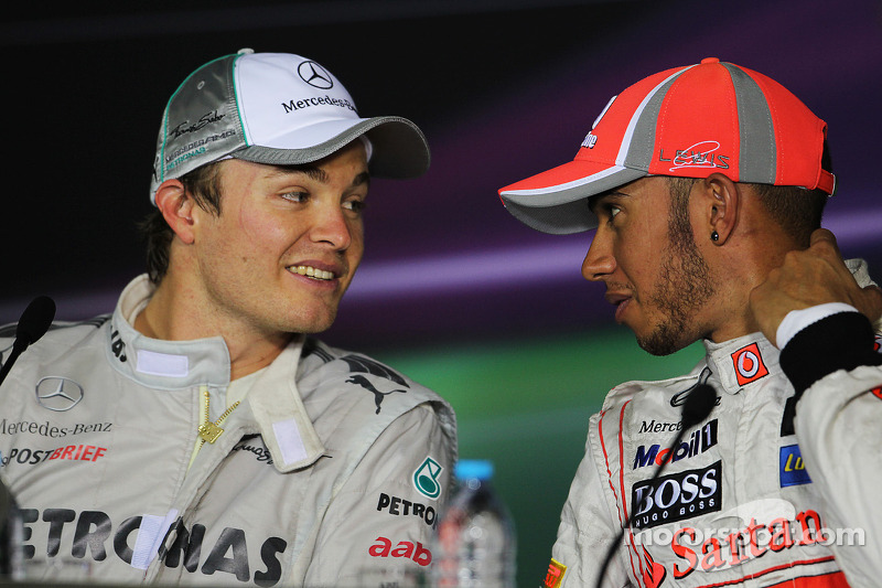 Press conference: race winner Nico Rosberg, Mercedes AMG F1, third place Lewis Hamilton, McLaren