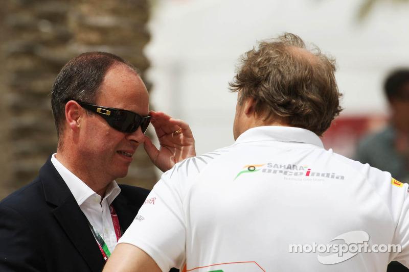 John Yates, ex-London Metropolitan Police Service en adviseur politie van Bahrein met Bob Fernley, Sahara Force India F1 Team Deputy Team Principal