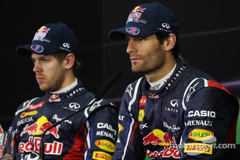 Sebastian Vettel, Red Bull Racing en ploegmaat Mark Webber, Red Bull Racing in de FIA persconferentie