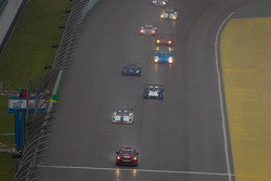 The green flag is dropped during pace laps