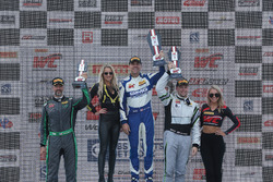 GTA Podium: first place James Sofronas, GMG Racing, second place John Potter, Magnus Racing, Tim Pappas, Black Swan Racing