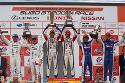 GT 500 podium: race winners #1 Team Sard Lexus LC500: Kohei Hirate, Heikki Kovalainen, second place #46 Mola Nissan GT-R: Satoshi Motoyama, Katsumasa Chiyo, third place #6 Team LeMans Lexus LC500: Kazuya Oshima, Andrea Caldarelli