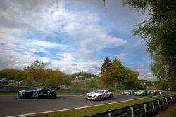 Formation lap: #17 Vita4one Racing Team BMW Z4 GT3: Mathias Lauda, Frank Kechele, Pedro Lamy, Ricardo van der Ende and #22 ROWE Racing Mercedes-Benz SLS AMG GT3: Klaus Graf, Thomas Jäger, Alexander Roloff, Jan Seyffahrt