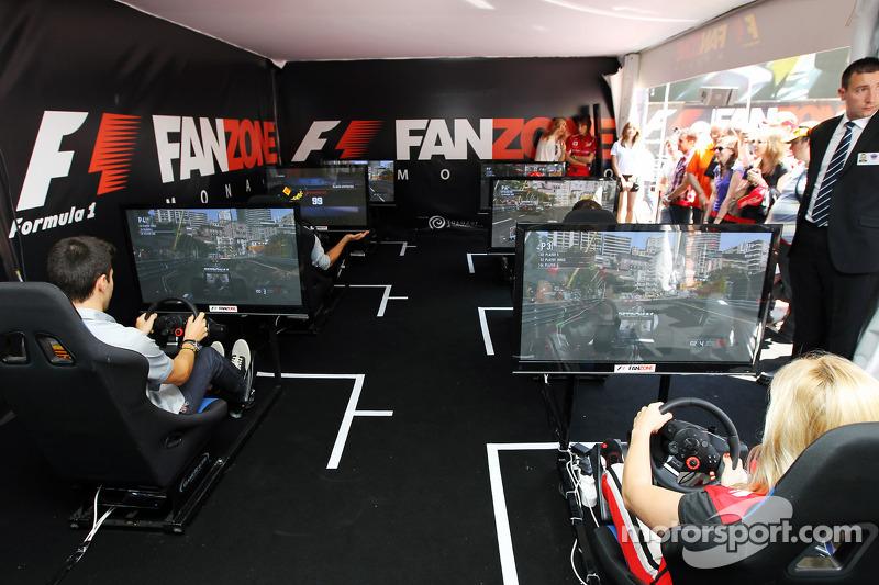 Jaime Alguersuari, BBC Radio 5 Live Expert Summariser and Maria De Villota, Marussia F1 Team Test Driver at the Fanzone