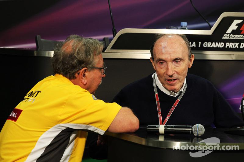 Jean-Francois Caubet, Renault Sport F1 Managing Director met Frank Williams, Williams teambaas in de FIA persconferentie