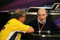 Jean-Francois Caubet, Renault Sport F1 Managing Director and Frank Williams, Williams Team Owner in the FIA Press Conference