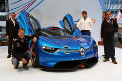 Carlos Tavares, Renault COO;  Sebastian Vettel, Red Bull Racing; Laurens Van Den Acker, Renault Industrial Design Director; Christian Horner, Red Bull Racing Team Principal; and Alain Prost, unveil the Renault Alpine A110-50 Concept car on the Red Bull En