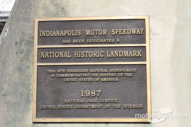 National Historical Landmark plaque on the scoring pylon at the Indianapolis Motor Speedway