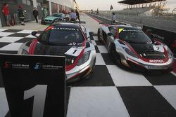 Race winner #1 Hexis Racing McLaren MP4-12C GT3: Frederic Makowiecki, Stef Dusseldorp and #2 Hexis AMR McLaren GT MP4-12C GT3: Gregoire Demoustier, Alvaro Parente