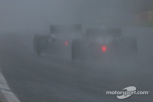 Rain fell hard on Motorland Aragon.