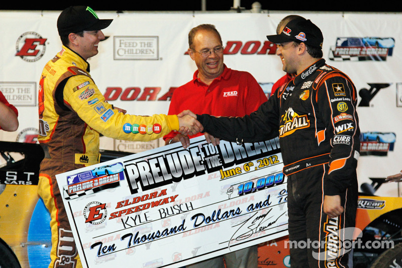 Victory lane: Kyle Busch celebrates with Tony Stewart