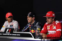 The post qualifying FIA Press Conference, McLaren Mercedes, second; Sebastian Vettel, Red Bull Racing, pole position; Fernando Alonso, Scuderia Ferrari, third