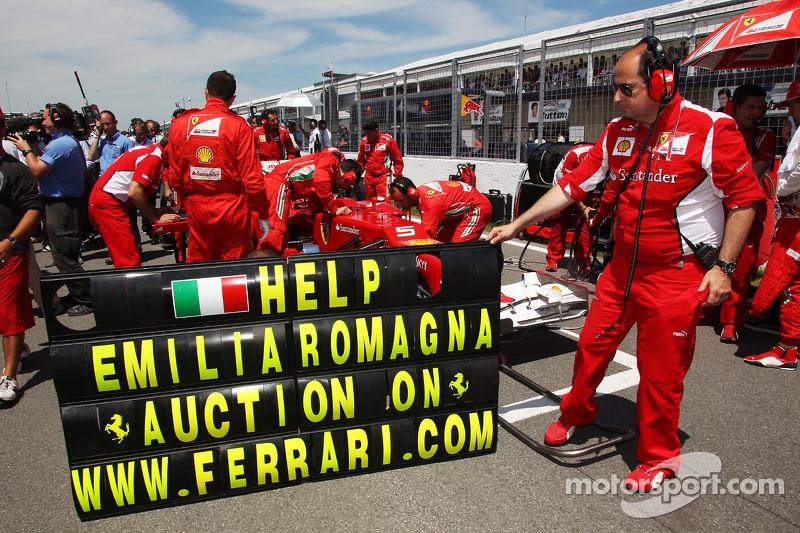 Ferrari steunt slachtoffers aardbevingen in Italy op de grid