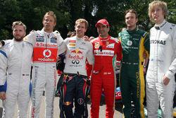 Nick Heidfeld, Jenson Button, Sebastian Vettel, Marc Gene, Giedo van der Garde, Brendon Hartley