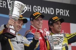 Podium: race winner Luiz Razia, second place Davide Valsecchi, third place Felipe Nasr