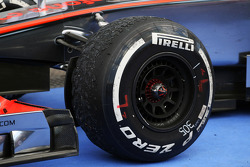 Pirelli tyre of Jenson Button, McLaren in parc ferme