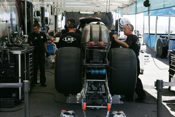 Tim Wilkerson's crew prepare the car for qualifying runs