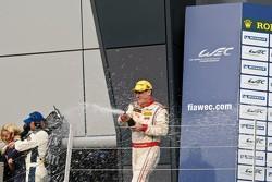 Enzo Potolicchio sprays champagne