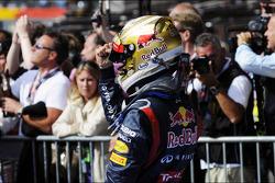 Sebastian Vettel, Red Bull Racing celebrates his second position in parc ferme