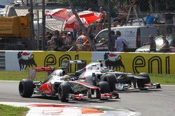 Lewis Hamilton, McLaren Mercedes and Sergio Perez, Sauber F1 Team