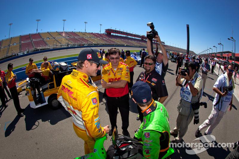 Ryan Hunter-Reay, Andretti Autosport Chevrolet en James Hinchcliffe, Andretti Autosport Chevrolet met Michael Andretti