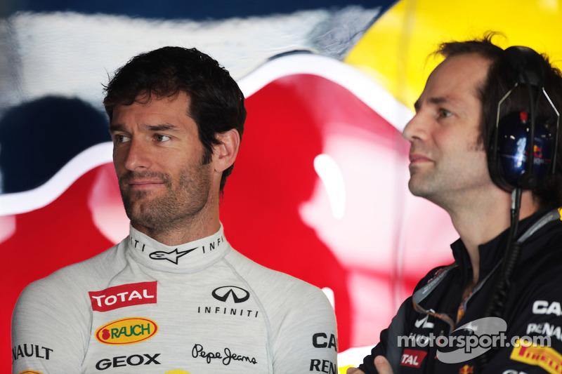 Mark Webber, Red Bull Racing with Ciaron Pilbeam, Red Bull Racing Race Engineer