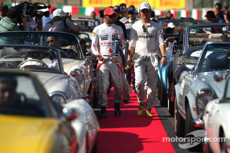 Lewis Hamilton, McLaren Mercedes en Nico Rosberg, Mercedes GP