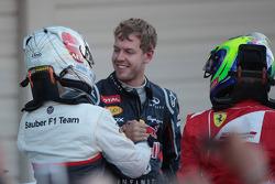 Kamui Kobayashi, Sauber F1 Team with Sebastian Vettel, Red Bull Racing and Felipe Massa, Scuderia Ferrari