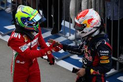 Felipe Massa, Ferrari celebrates his second position in parc ferme with race winner Sebastian Vettel, Red Bull Racing
